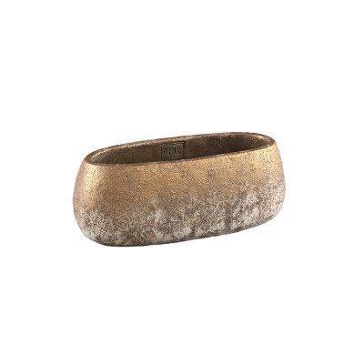 Firawonen.nl Ptmd jae goud cement ruige pot ovaal xs