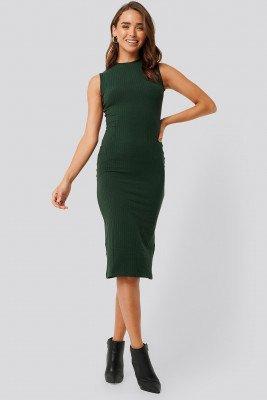 NA-KD Basic NA-KD Basic Sleeveless Ribbed Midi Dress - Green