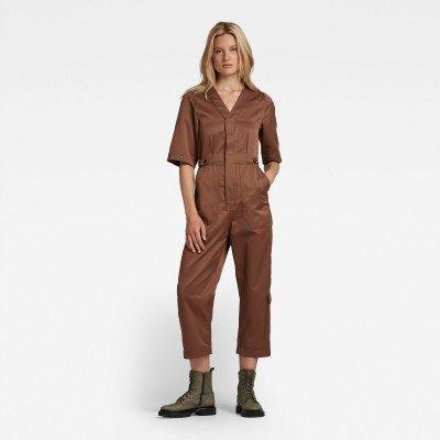G-Star RAW V-Neck Short Sleeve Jumpsuit - Bruin - Dames
