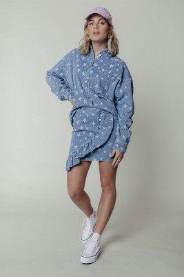 Colourful Rebel Kaylo Star Oversized Dropped Shoulder Blouse   Light Blauw Denim