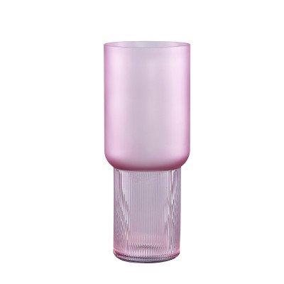 Firawonen.nl Ptmd kandis roze glazen vaas mat en geribbeld rond