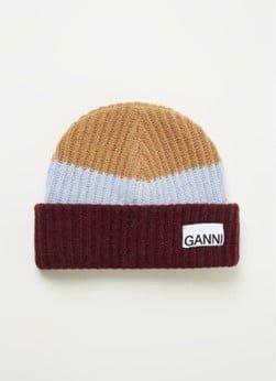 Ganni Ganni Grofgebreide muts met logo