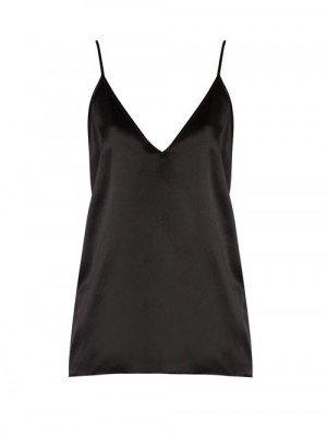 Matchesfashion Raey - V-neck Silk-satin Cami Top - Womens - Black