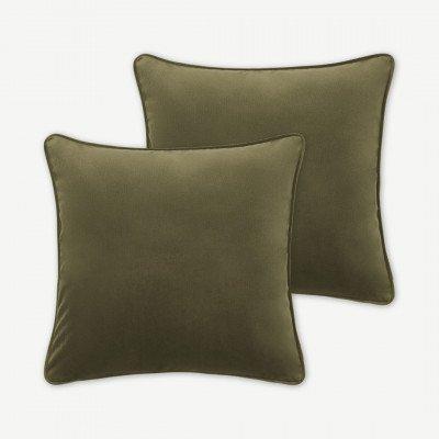 MADE.COM Julius set van 2 fluwelen kussens, 59 x 59 cm, pistache groen