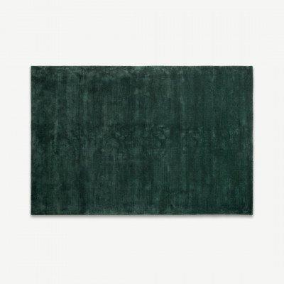 MADE.COM Merkoya luxe viscose vloerkleed, 160 x 230cm, pauwgroen
