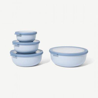 MADE.COM Mepal set van 4 platte voorraadbakken met deksel, Scandinavisch blauw