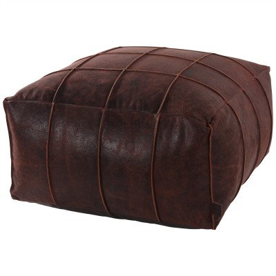Firawonen.nl PTMD Leather dark brown poof square