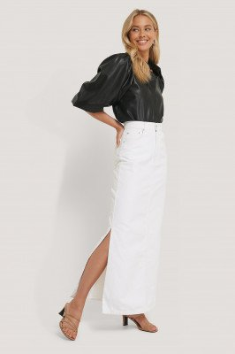 NA-KD Trend NA-KD Trend Side Split Maxi Denim Skirt - White
