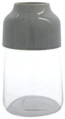 HEMA HEMA Vaas Ø14x17.1 Glas-aardewerk Grijs