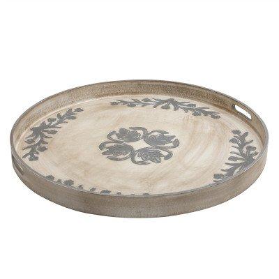 Firawonen.nl PTMD Chey cream wooden tray round printed l