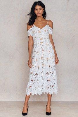 NA-KD Boho Cold Shoulder Crochet Midi Dress - White