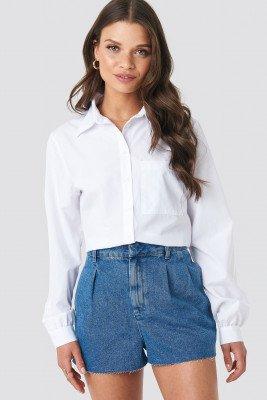 NA-KD NA-KD Front Pleat Denim Shorts - Blue