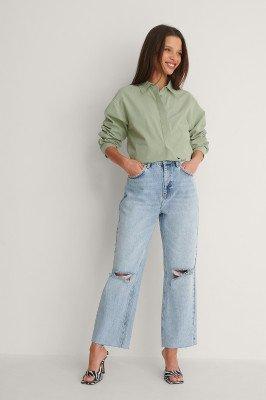 NA-KD Trend NA-KD Trend Recht Cropped Jeans Met Hoge Taille En Open Knieën - Blue