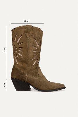 Shoecolate Shoecolate Cowboylaarzen plat Kaki 8.20.08.036.02