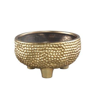 Ptmd macey goud pot kermaiek rond laag geglazuurd
