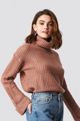 NA-KD NA-KD Short Pineapple Knitted Sweater - Pink