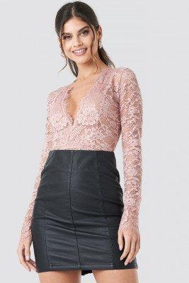 NA-KD Party NA-KD Party Long Sleeve V-neck Bodysuit - Pink