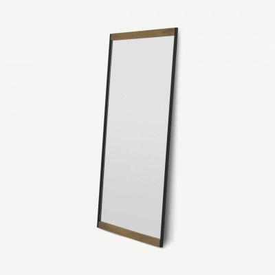 MADE.COM Maxine spiegel, extra groot, 80 x 180 cm, mangohout en zwart