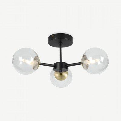 MADE.COM Globe plafondlamp, antiek messing en rookglas
