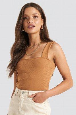 NA-KD Trend Square Neck Wide Strap Top - Brown