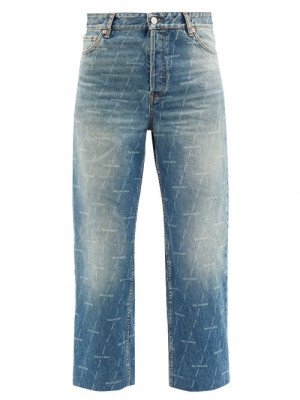 Matchesfashion Balenciaga - Monogram-logo Cropped Jeans - Womens - Denim