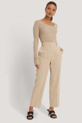 NA-KD Reborn Gerecycleerd Cropped Pantalon Met Hoge Taille - Beige