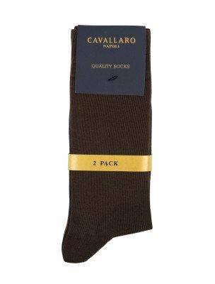 Cavallaro Napoli Cavallaro Napoli Heren Ondershirts - Socks 2-pack Dark Brown OS - Bruin