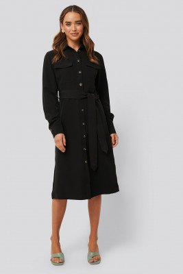 NA-KD Classic Belted Long Shirt Dress - Black