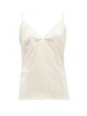 Matchesfashion Bottega Veneta - V-neck Silk-blend Cami Top - Womens - Ivory
