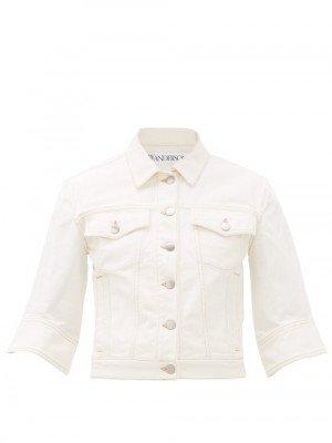 JW Anderson - Cropped Denim Jacket - Womens - White