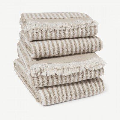 MADE.COM Kees set van 4 handdoeken, 100% katoen, lichtbeige
