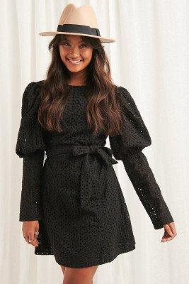 NA-KD Boho Anglaise LS Mini Dress - Black