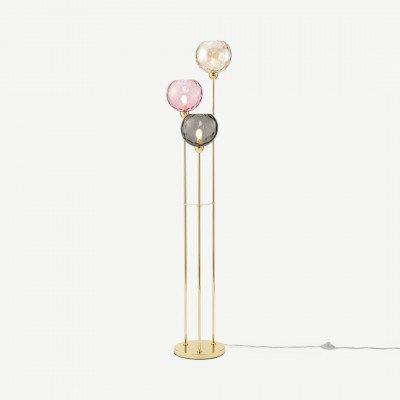 MADE.COM Ilaria driedubbele staande lamp, meerkleurig roze & messing