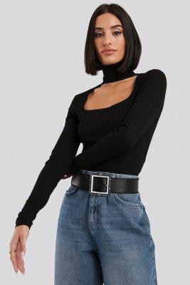 NA-KD Trend NA-KD Trend Cut Out Turtle Neck Bodysuit - Black