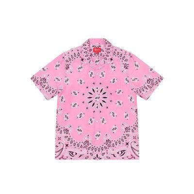 Supreme Supreme Bandana Silk S/S Shirt Pink (SS21)
