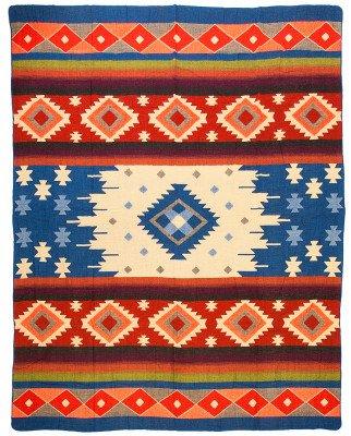 EcuaFina Mini Alpaca deken native Quilotoa - Blauw - 110 cm x 205 cm Blue