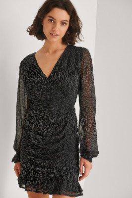 NA-KD NA-KD Gerecycleerd Ingerimpelde Doorzichtige Mini-jurk - Black