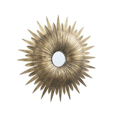 Firawonen.nl PTMD Finna Gold ijzeren spiegel zon vorm rond L
