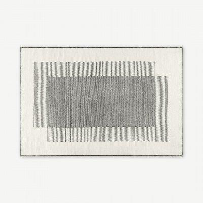 MADE.COM Caixa wollen vloerkleed, groot, 160 x 230 cm, gebroken wit en zwart