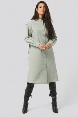 NA-KD Trend Adjustable Side Strap Shirt Dress - Green
