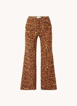 Fabienne Chapot Fabienne Chapot Puck high waist wide fit pantalon met panterprint