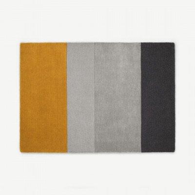 MADE.COM Vance vloerkleed, 160 x 230 cm, mosterdgeel en grijs