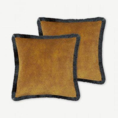 MADE.COM Kili set van 2 kussens met franjes, 45 x 45 cm, goud en donkerturkoois