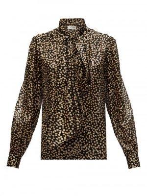 Matchesfashion Saint Laurent - Pussy-bow Polka-dot Silk Fil-coupé Blouse - Womens - Black Multi