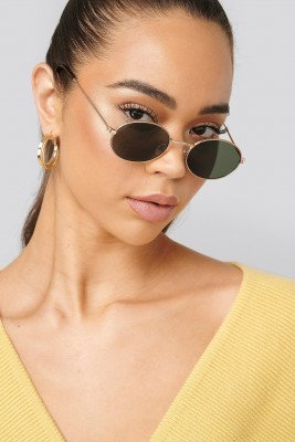 NA-KD Accessories NA-KD Accessories Oval Metal Frame Sunglasses - Gold
