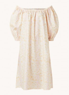 Remain Remain Lea midi jurk met pofmouw en panterprint