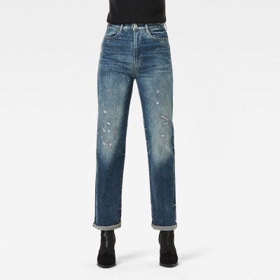 G-Star RAW Tedie Ultra High Straight Turn Up Ankle Selvedge Jeans - Midden blauw - Dames