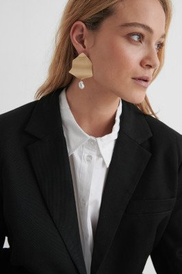 NA-KD Accessories NA-KD Accessories Pearl Detailed Plate Earrings - Gold