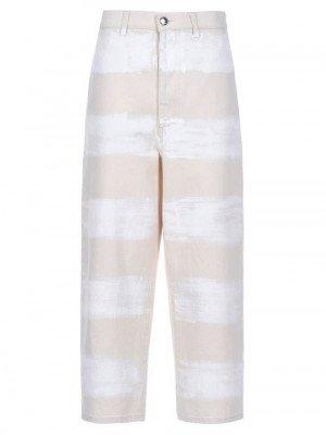 Matchesfashion Marni - Brushstroke Stripe-print Wide-leg Jeans - Womens - Ivory