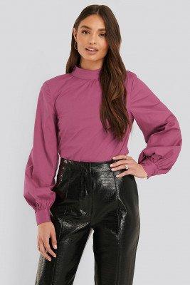 NA-KD NA-KD Katoenen Blouse Met Hoge Hals - Purple